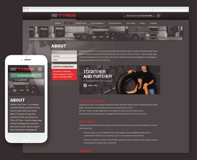 web design QT Tyres